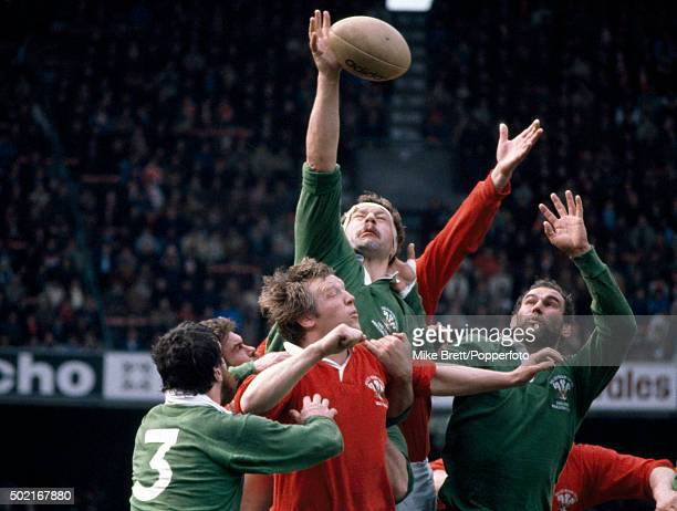 Bill Beaumont of the Presidents XV wins a lineout with Andy Haden in support during their rugby union match against Wales at Cardiff Arms Park on...