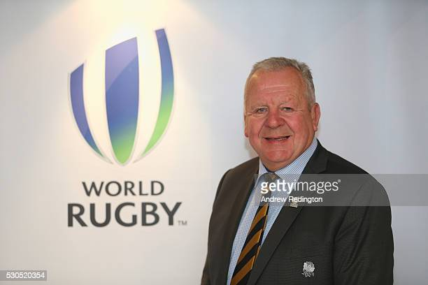 Bill Beaumont poses for a photograph during a media conference to introduce the new World Rugby Chairman and ViceChairman on May 11 2016 in Dublin...