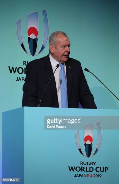 Bill Beaumont President of World Rugby addresses the audience during the Rugby World Cup 2019 match schedule announcement at Grand Prince Hotel Shin...