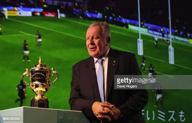 Bill Beaumont President of World Rugby looks on during the Rugby World Cup 2019 match schedule announcement at Grand Prince Hotel Shin Takanawa on...