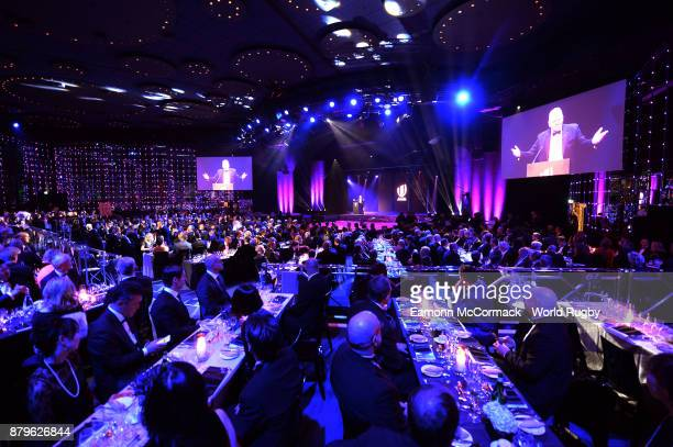 Bill Beaumont the World Rugby Chairman addresses the guests during the World Rugby Awards 2017 in the Salle des Etoiles at MonteCarlo Sporting Club...