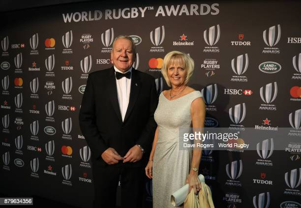 Bill Beaumont the World Rugby Chairman and his wife Hilary attend the World Rugby Awards 2017 in the Salle des Etoiles at MonteCarlo Sporting Club on...
