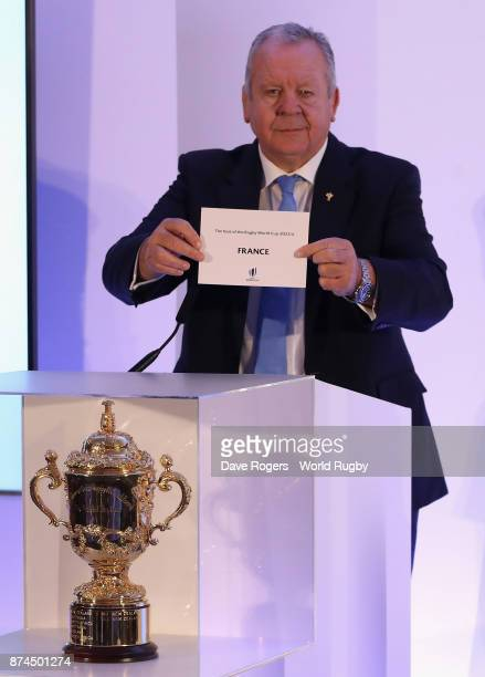 Bill Beaumont the World Rugby via Getty Images chairman announces that France will host Rugby World Cup 2023 during the Rugby World Cup 2023 Host...