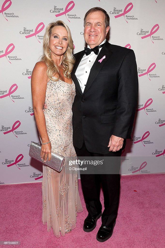 Bill Belichick (R) and Linda Holliday attend The Breast Cancer Research Foundation 2014 Hot Pink Party at The Waldorf=Astoria on April 28, 2014 in New York City.