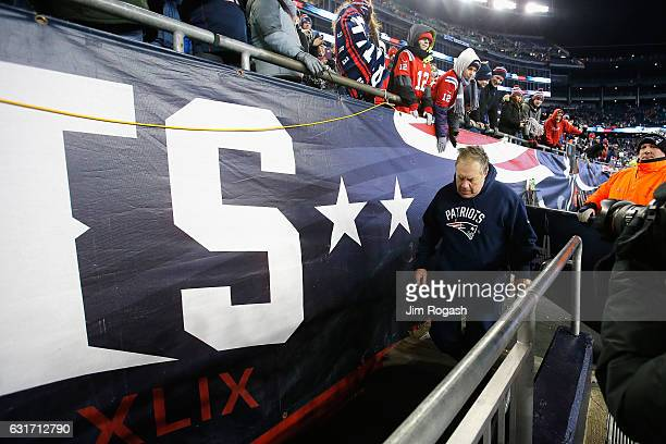 Bill Belichick head coach of the New England Patriots leaves the field after the Patriots defeated the Houston Texans 3416 in the AFC Divisional...