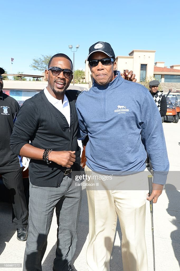 Bill Bellamy and Tony Cornelius pose for a photo at the First Annual Soul Train Celebrity Golf Invitational on November 9, 2012 in Las Vegas, Nevada.