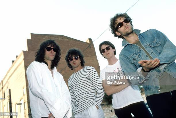 UNITED STATES JULY 29 Bill BERRY and Michael STIPE and Peter BUCK and Mike MILLS and REM LR Peter Buck Bill Berry Mike Mills Michael Stipe posed...
