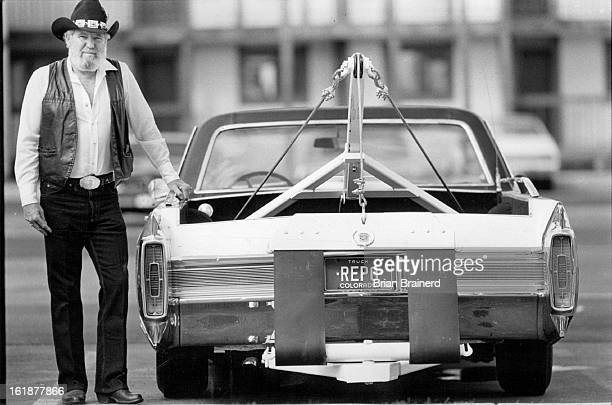 NOV 16 1986 Bill Bowser repo man and his converted Cadillac tow truck He no longer uses this vehicle for reposessions but keeps it as a show car