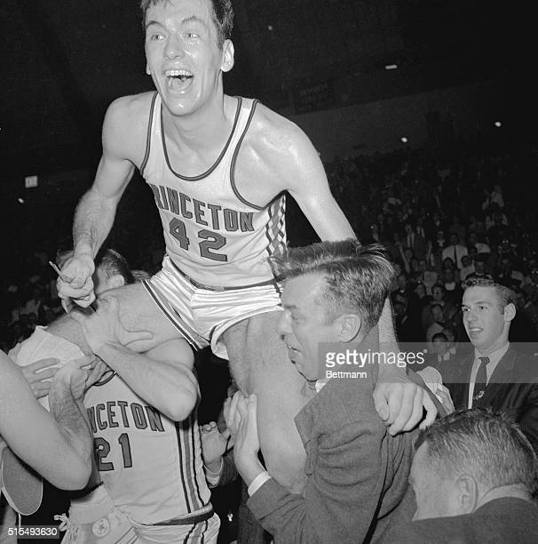 Bill Bradley being Carried by Teammates After Princeton defeated NC State 66 -48 in the semifinals of the East Region of the NCAA Basketball...