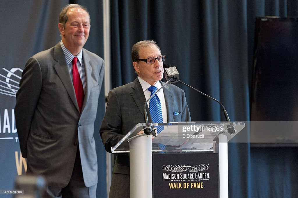 Bill Bradley looks on as George Kalinsky speaks onstage during the Madison Square Garden 2015 Walk Of Fame Inductions at Madison Square Garden on May 11, 2015 in New York City.