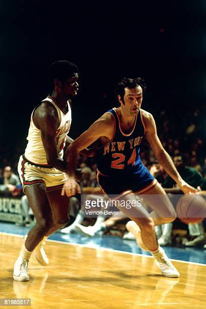 Bill Bradley of the New York Knicks drives the ball up court against the Milwaukee Bucks during the 1970 season at the MECCA Arena in Milwaukee...