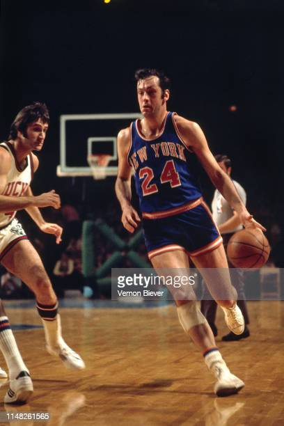 Bill Bradley of the New York Knicks handles the ball against the Milwaukee Bucks March 9 1974 at the Milwaukee Arena in Milwaukee Wisconsin NOTE TO...