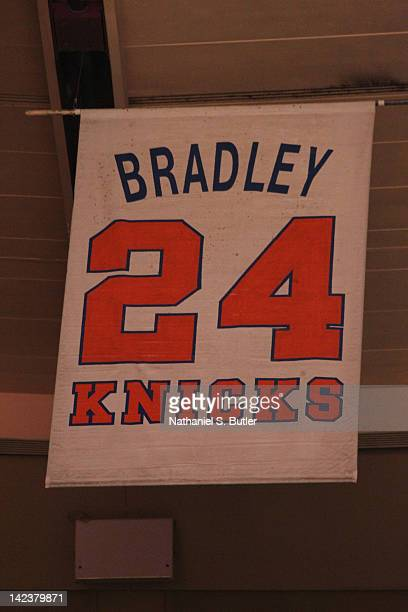 Bill Bradley's retired jersey of the New York Knicks hangs on March 31 2012 at Madison Square Garden in New York City NOTE TO USER User expressly...