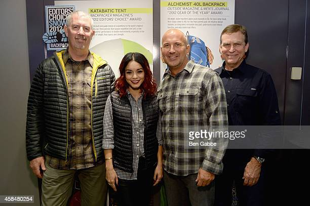 Bill Bredy Vanessa Hudgens Mike Egeck and Dan Templin attend the Eddie Bauer NYC Store Opening on November 5 2014 in New York City
