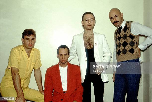 Bill Bruford Adrian Belew Robert Fripp and Tony Levin of King Crimson on 11/10/81 in Chicago Il