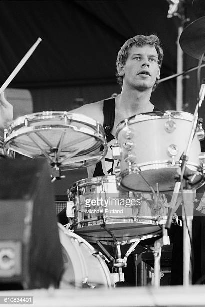 Bill Bruford drumming with English progressive rock supergroup UK in Central Park New York City 7th July 1978 The band are supporting Al DiMeola