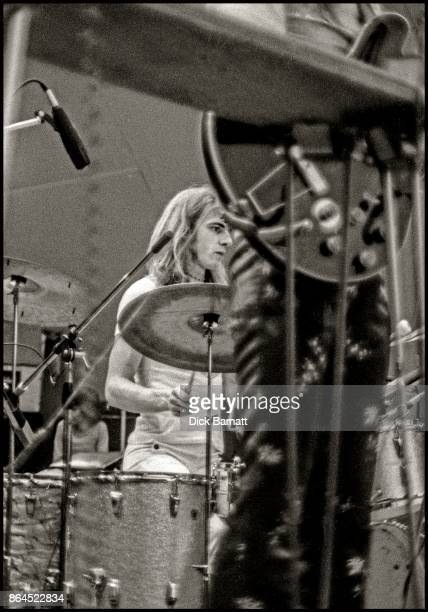 Bill Bruford of Yes performs on stage at Crystal Palace Garden Party London 2nd September 1972