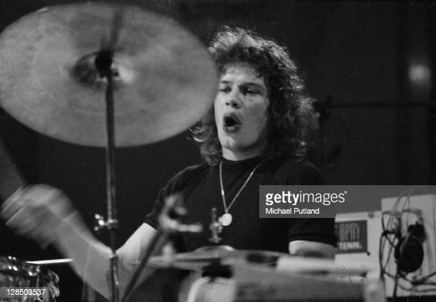 Bill Bruford of Yes performs on stage at the Camden Festival The Roundhouse London 25th April 1971