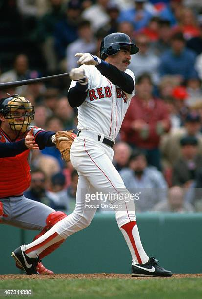 Bill Buckner of the Boston Red Sox bats against the California Angels during an Major League Baseball game circa 1986 at Fenway Park in Boston...
