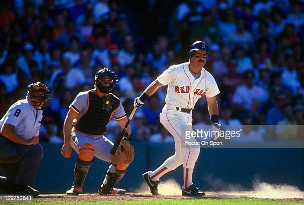 Bill Buckner of the Boston Red Sox bats against the Detroit Tigers during an Major League Baseball game circa 1985 at Fenway Park in Boston...