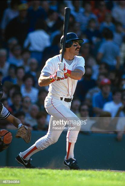 Bill Buckner of the Boston Red Sox bats against the New York Yankees during an Major League Baseball game circa 1986 at Fenway Park in Boston...