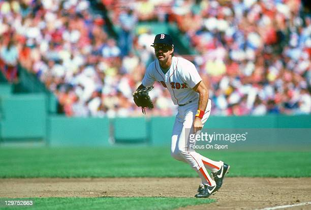 Bill Buckner of the Boston Red Sox is down and ready to make a play on the ball during an Major League Baseball game circa 1984 at Fenway Park in...