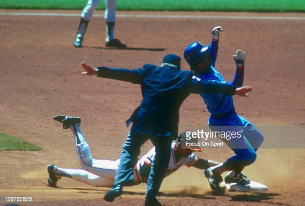 Bill Buckner of the Chicago Cubs steals second base beating the tag of Johnnie LeMaster of the San Francisco Giants during an Major League Baseball...