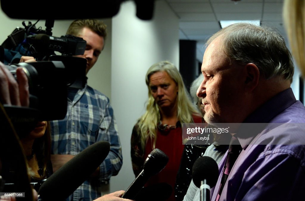 Bill Buckwalter, son of Gayle Buckwalter speaks to the media outside the courtroom after sentencing. Taden Lee Jones, a 19-year-old man was sentenced Monday to 12 years in prison March 13, 2017 in Centennial, Colorado for the death of Gayle Buckwalter, 82, and Audrey Burton, 77 on April 6, 2016.