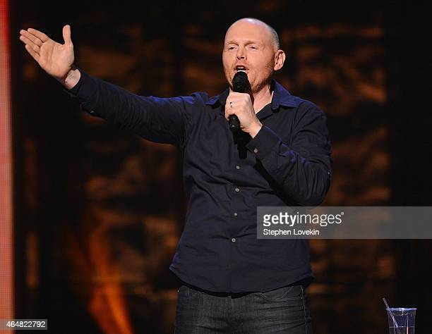 Bill Burr performs on stage at Comedy Central Night Of Too Many Stars at Beacon Theatre on February 28 2015 in New York City