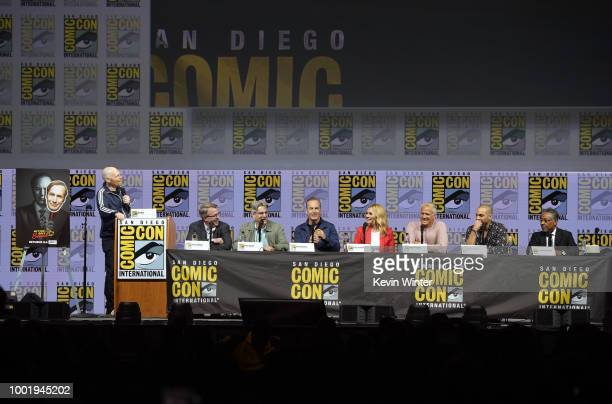 Bill Burr Vince Gilligan Peter Gould Bob Odenkirk Rhea Seehorn Patrick Fabian Michael Mando and Giancarlo Esposito speak onstage during the AMC's...
