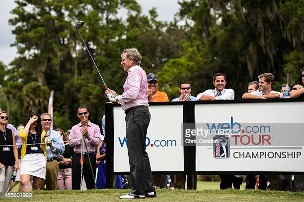 Bill Calfee president of the Webcom Tour gets ready to hit an inaugural drive during practice for the Webcom Tour Championship at TPC Sawgrass Dye's...