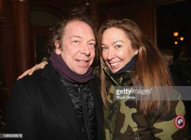"""Bill Camp and Elizabeth Marvel pose at the opening night of the play """"Network"""" on Broadway at The Belasco Theatre on December 6, 2018 in New York..."""