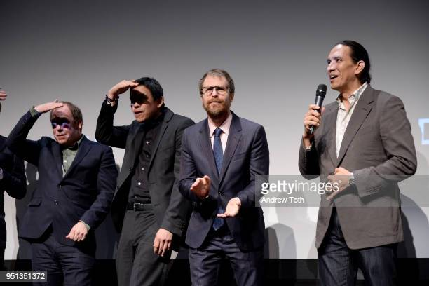 Bill Camp Chaske Spencer Sam Rockwell and Michael Greyeyes speak during an DIRECTTV Premiere Of Women Walks Ahead At 2018 Tribeca Film Festival on...