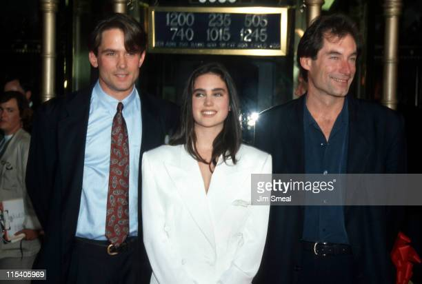 Bill Campbell Jennifer Connelly and Tim Dalton during 'The Rocketeer' RibbonCutting Ceremony 1991 at El Capitan Theater in Hollywood California...