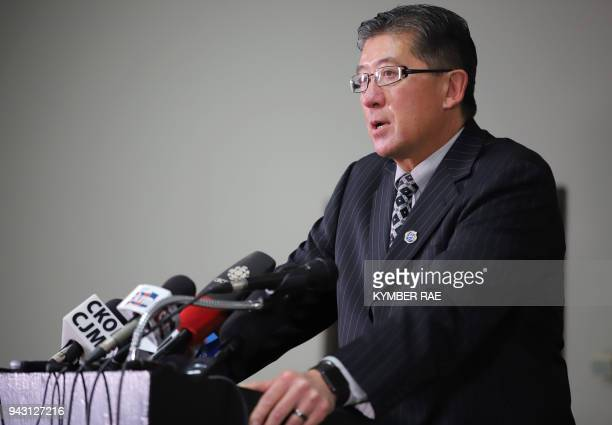 Bill Chow President of SJHL gives an emotional address to family and friends of the Broncos and media outlets during a press conference at the...