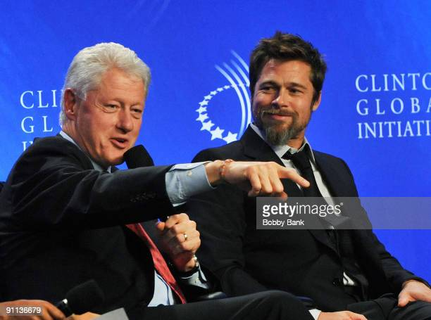 Bill Clinton 42nd President United States of America and Brad Pitt Founder of Make it Right attends the 2009 Clinton Global Initiative Special...