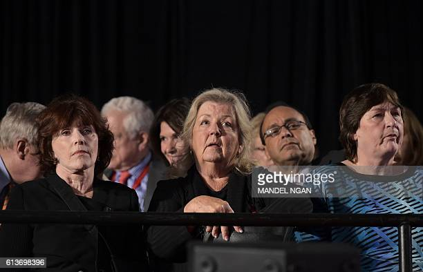 Bill Clinton accusers Kathleen Willey Juanita Broaddrick and rape victim Kathy Shelton are seated for the second presidential debate between...