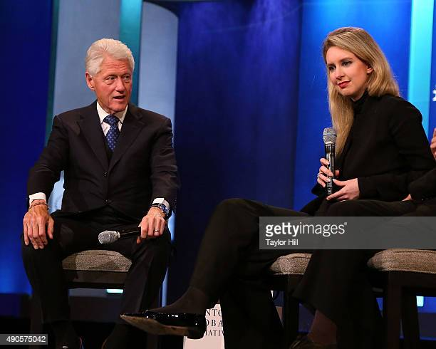 Bill Clinton and Elizabeth Holmes attend the 2015 Clinton Global Initiative Closing Plenary at Sheraton Times Square on September 29 2015 in New York...