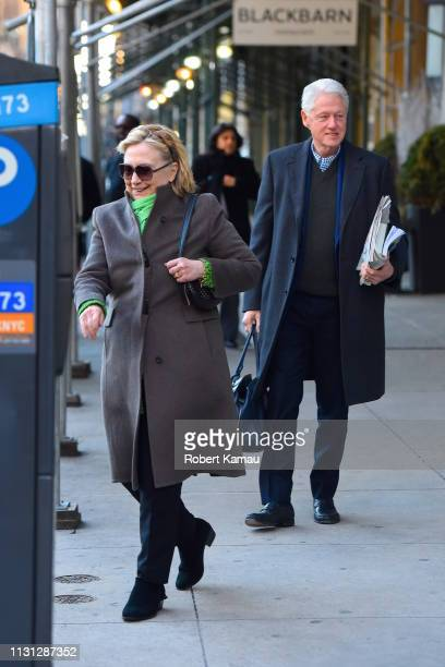 Bill Clinton and Hillary Clinton seen out and about in Manhattan on March 17 2019 in New York City