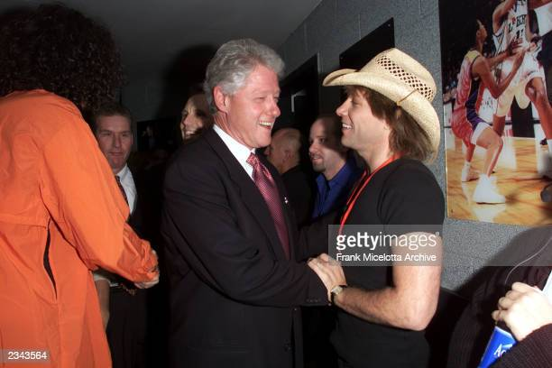 Bill Clinton and Jon Bon Jovi backstage at The Concert for New York City at Madison Square Garden in New York City 10/20/01 The show will benefit...