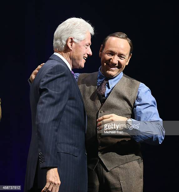 Bill Clinton and Kevin Spacey onstage during The Thelonius Monk Jazz Trumpet Competition and All Star Gala concert held at Dolby Theatre on November...