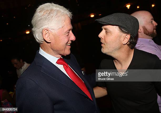 Bill Clinton and Metallica's Lars Ulrich chat backstage at the hit musical 'Hamilton' on Broadway at The Richard Rogers Theatre on July 2 2016 in New...