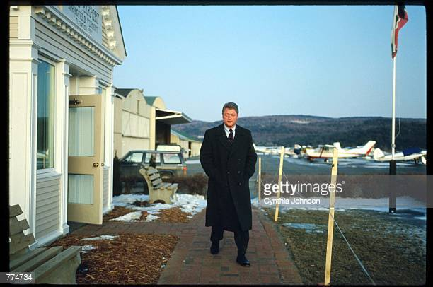 Bill Clinton arrives at the airport February, 12 1992 in Manchester, NH. Clinton is the first candidate to lose the New Hampshire primary since its...
