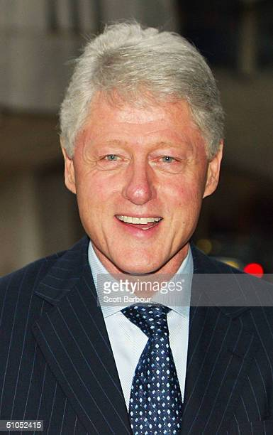 "Bill Clinton arrives at the launch party for ""My Life"", the memoirs of the former US President Bill Clinton, on July 12, 2004 in London, England."