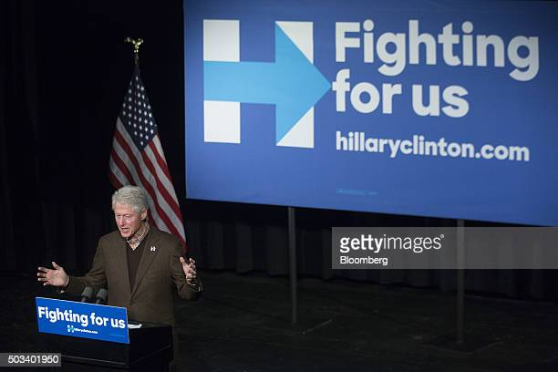 Bill Clinton former US President and husband of Hillary Clinton former Secretary of State and 2016 Democratic presidential candidate speaks during a...
