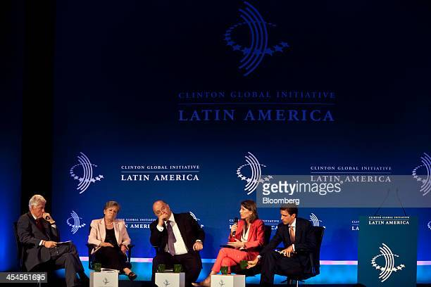 Bill Clinton former US President from left Alicia Barcena executive director of the United Nations Economic Commission for Latin America and the...