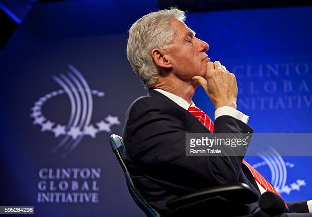 Bill Clinton, Former U.S. President, listens to speakers during the annual Clinton Global Initiative meeting in New York, on Tuesday, September 21,...