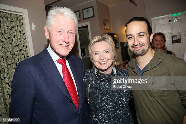 "Bill Clinton, Hillary Clinton and Lin Manuel Miranda pose backstage at the hit musical ""Hamilton"" on Broadway at The Richard Rogers Theatre on July..."