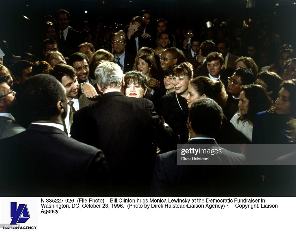 Bill Clinton hugs Monica Lewinsky at the Democratic Fundraiser in Washington, DC, October 23, 1996.
