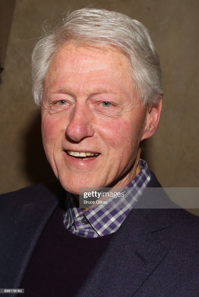 Bill Clinton poses backstage at the hit musical 'The Band's Visit' on Broadway at The Barrymore Theatre on December 27, 2017 in New York City.